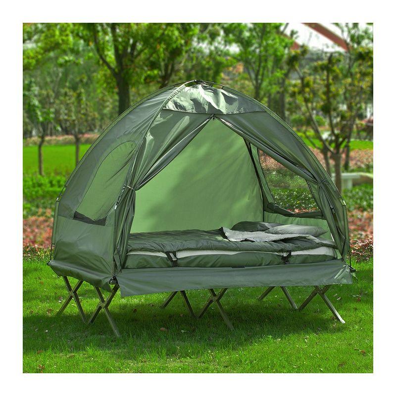 2 Places Lit Pliant Lit de Camp Pliable Voyage Camping avec Toit, Sac de  Couchage OGS32-L-GR SoBuy®