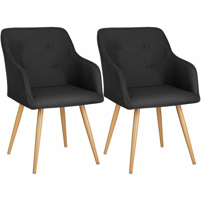 2 Polsterstühle Tanja - Esszimmerstuhl, Armlehnstuhl, Sessel - schwarz - negro - TECTAKE