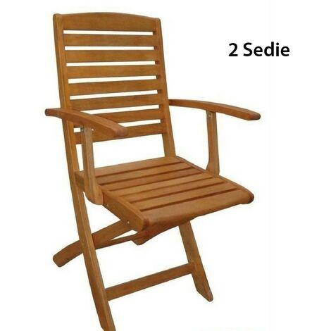 Sedie Da Esterno In Legno.2 Poltrone Sedie Da Giardino In Legno Esterno Pieghevoli Con