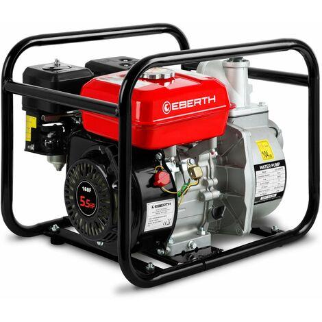 """2"""" Pompe à eau thermique (30.000 l/h, 5,5 CV Moteur à essence, Connection 2 Pouces, 30m Hauteur de refoulement, 7m Hauteur daspiration) Motopompe"""