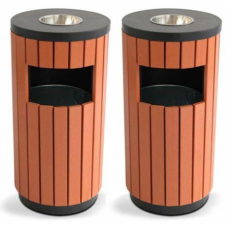 2 Poubelles bois d'extérieur 29 L + cendrier