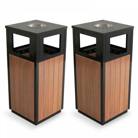 2 Poubelles bois extérieure 29 L + cendrier