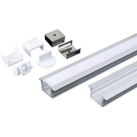 2 profilmetres en aluminium pour bandelettes indoor led vt-8115 3357
