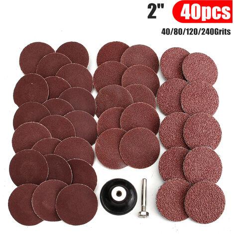 2 pulgadas 40 PC 40/80/120/240 granos tipo R papel de lija lijado almohadilla de pulido abrasivo de pulir de placa de la rueda de la placa + Mohoo mandril de bloqueo