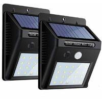 2 PZ faretto 20 led sensore movimento pannello solare ricaricabile luce esterno