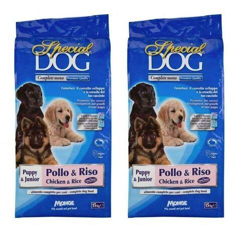 2 PZ MONGE SPECIAL DOG CROCCHETTE 15 KG PUPPI & JUNIOR POLLO RISO CANI CUCCIOLI