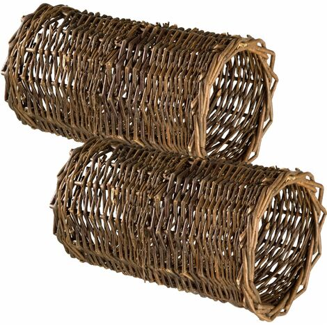 2 Rabbit tunnels - wicker tunnel, rabbit tube, rabbit burrow pipe - brown
