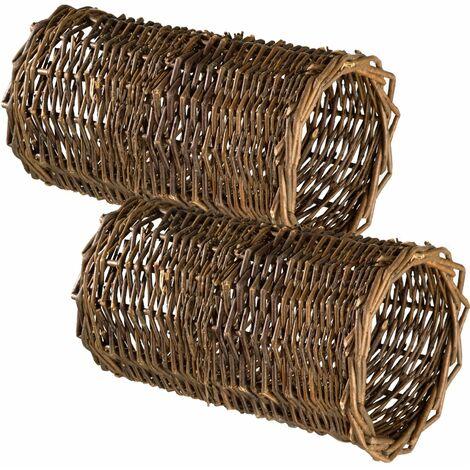 2 Rabbit tunnels - wicker tunnel, rabbit tube, rabbit burrow pipe - brown - marrón