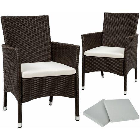 2 garden chairs rattan + 4 seat covers model 1 - outdoor chairs, rattan garden chairs, garden seating - antique brown - antikbraun