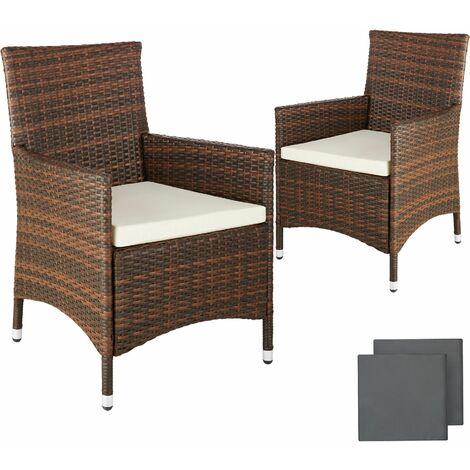 2 Garden Chairs Rattan 4 Seat Covers Model 2 Brown 401468
