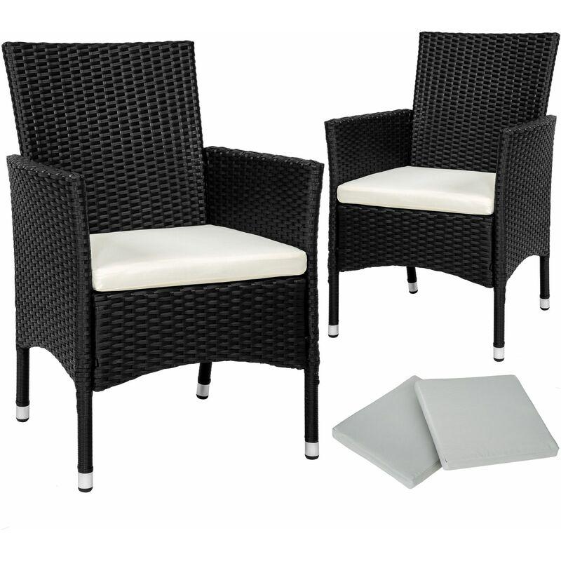 2 Rattansessel inkl. 4 Sitzbezüge - Rattanstühle, Gartensessel, Gartenstühle - schwarz - negro - TECTAKE