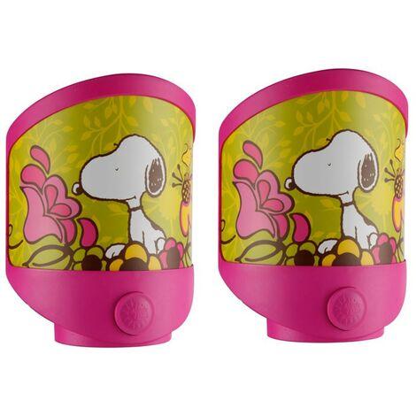 2 Réglez la table de nuit LED Snoopy éclairage enfants appliques d'éclairage en salle