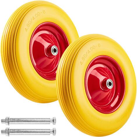 2 Rueda para carretilla goma maciza - rueda de carretilla de mano, llanta de goma maciza a prueba de pinchazos, llanta de aluminio resistente con eje - amarillo