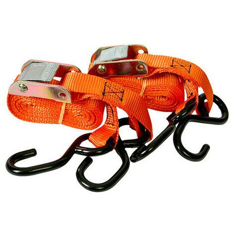 2 Sangles moto à boucle 2 crochets S - 25 x 3 000 mm - XL Perform Tools