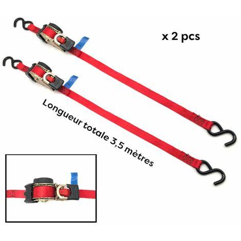 2 sangles rétractables à enrouleur automatique l.25 mm x L. 3,5 M + crochet fer 253 LC 600 daN Easy-28 - Cobaltix