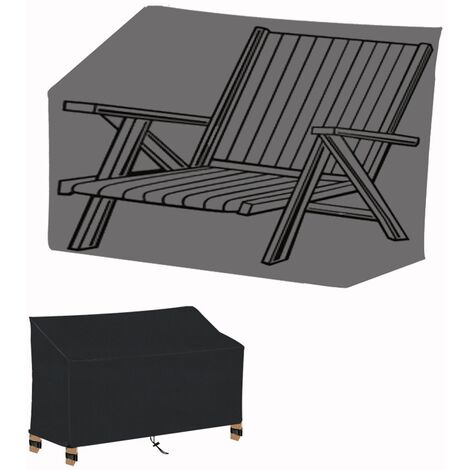 """main image of """"2 Seat Garden Bench Cover with Air Vent, Waterproof, Windproof, Anti-UV, Heavy Duty Rip Proof 210D Oxford Fabric Outdoor Patio Bench Seat Cover (134 x 66 x 89cm) - Black"""""""