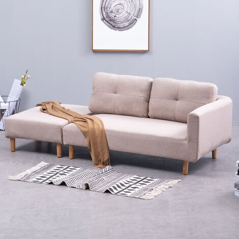 2 Seater Corner Fabric Sofa Couch with Footstool