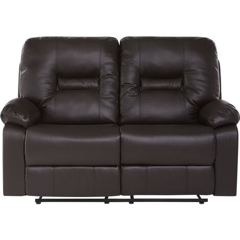 2 Seater Faux Leather Recliner Sofa Brown BERGEN