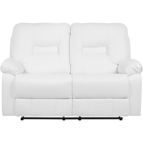 2 Seater Faux Leather Recliner Sofa White BERGEN