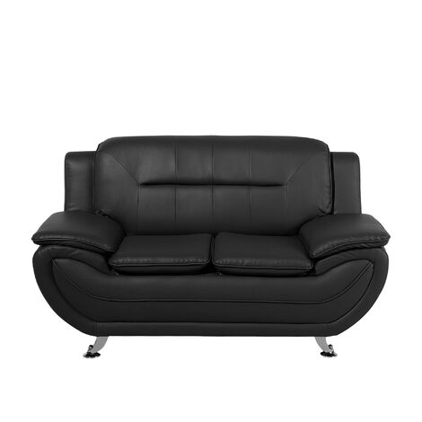 2 Seater Faux Leather Sofa Black LEIRA