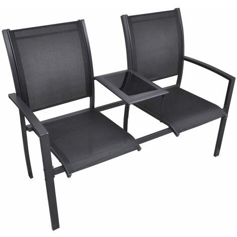 2 Seater Garden Bench 131 cm Steel and Textilene Black