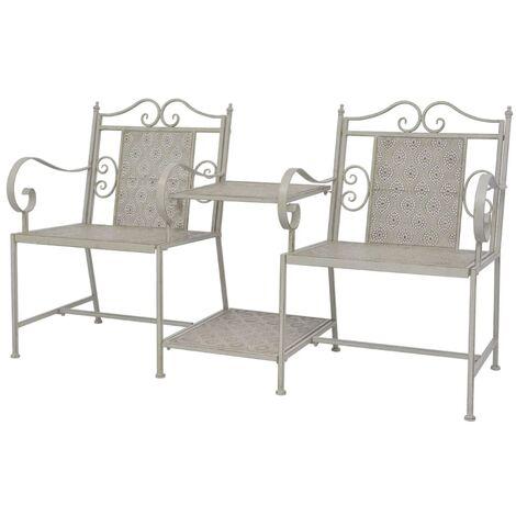2 Seater Garden Bench 161 cm Steel Grey