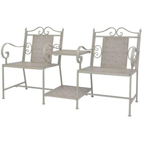 2 Seater Garden Bench 161 cm Steel Grey - Grey