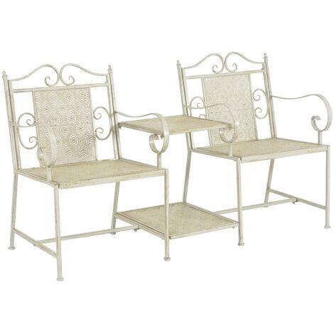 2 Seater Garden Bench 161 cm Steel White