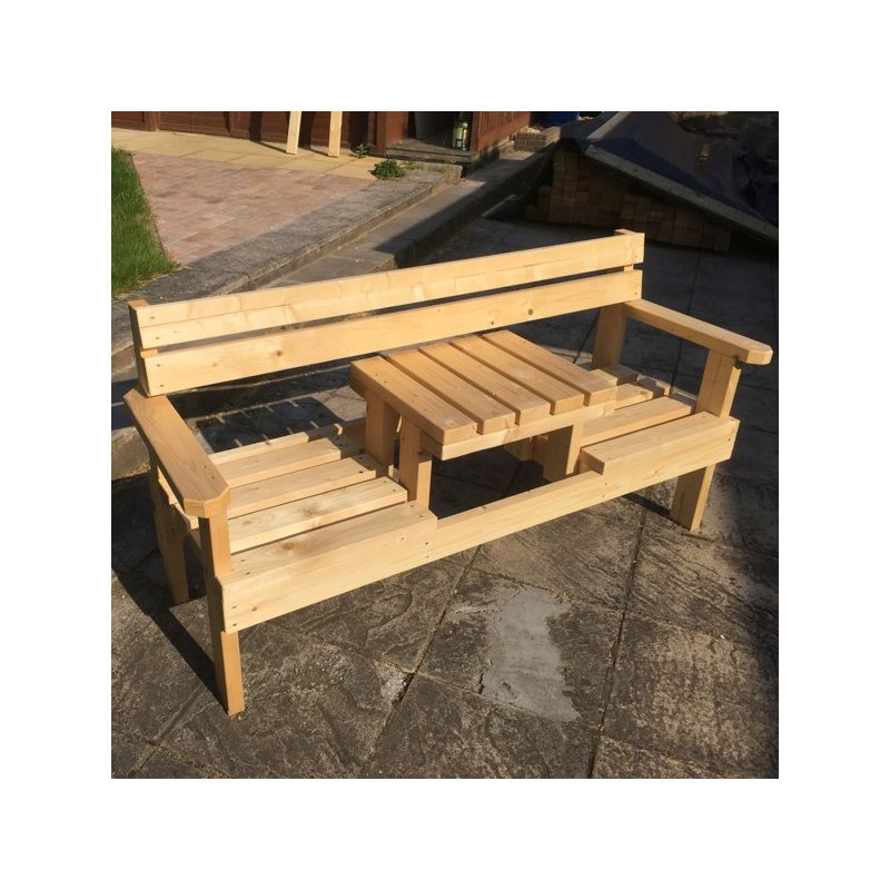 2 Seater Garden Bench With Small Table In Middle Masgf016