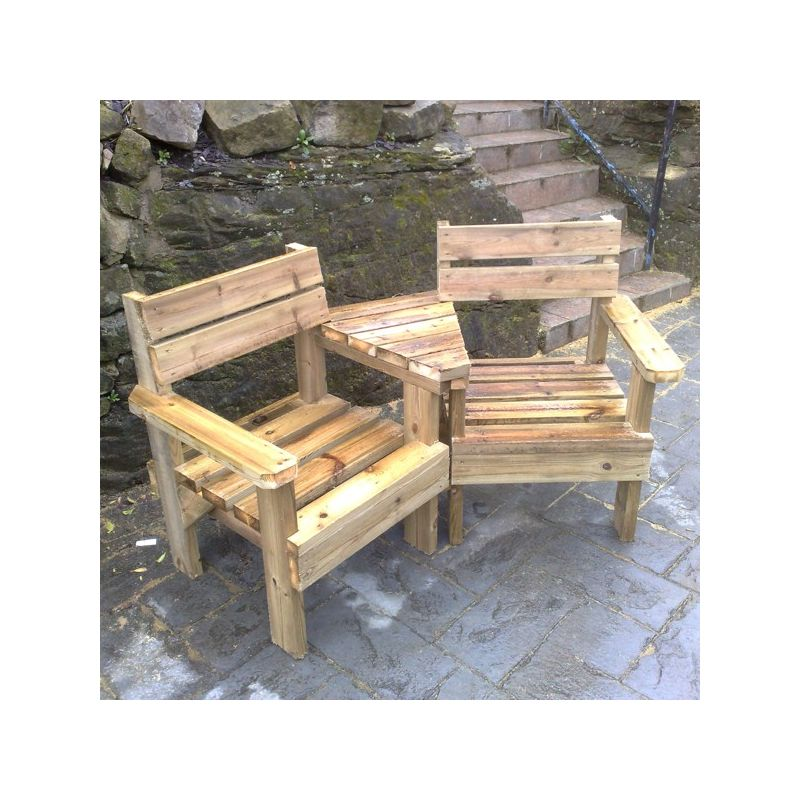 2 Seater Garden Bench With Small Table In Middle On