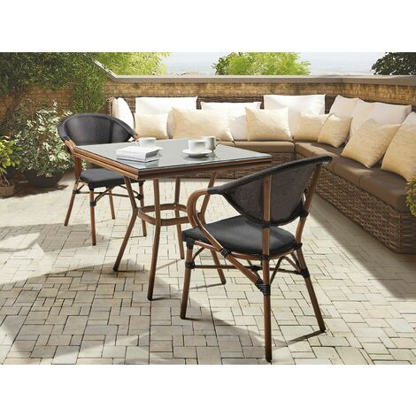 2 Seater Garden Dining Set Square Table and Chairs Aluminium Frame Black Caspri