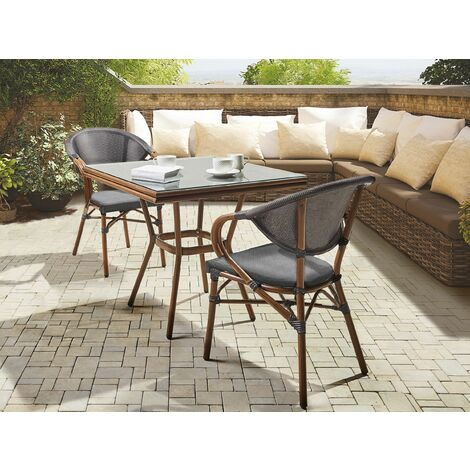 2 Seater Garden Dining Set Square Table and Chairs Aluminium Frame Grey Caspri