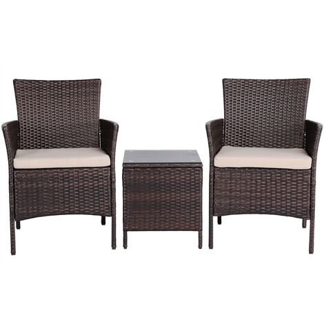 2 Seater Garden Furniture Sets Corner Patio Sofa Dining Set Rattan Wicker Chairs and Coffee Table with Cushions,Brown