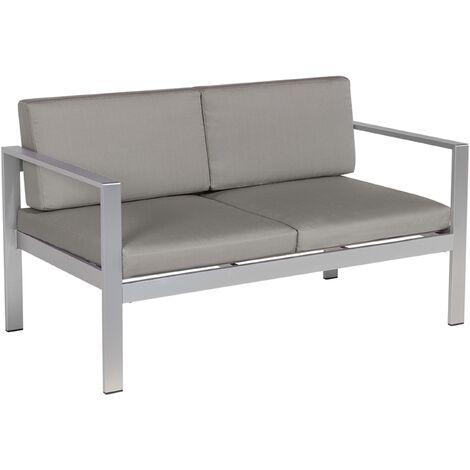 2 Seater Garden Sofa Aluminium Dark Grey SALERNO