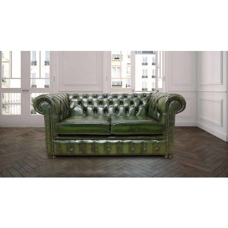 2 Seater Green antique leather Chesterfield sofa | DesignerSofas4U