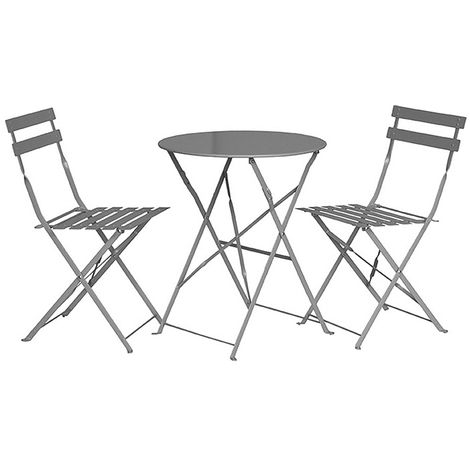 2 Seater Grey Taupe Folding Padstow Bistro Set