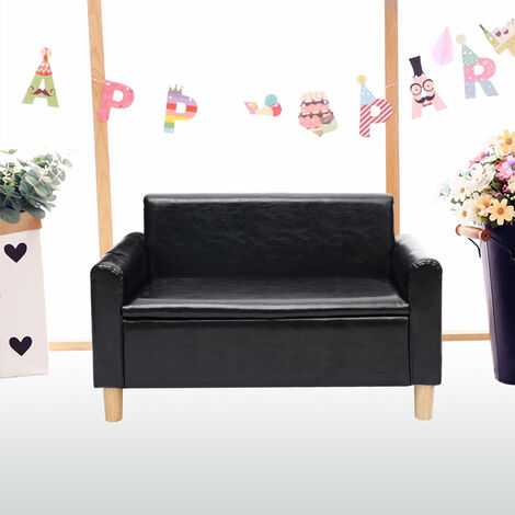 """main image of """"2 Seater Kids Sofa Armchair Cushioned Toddlers Seats Settee Storage Couch Lounger Black"""""""