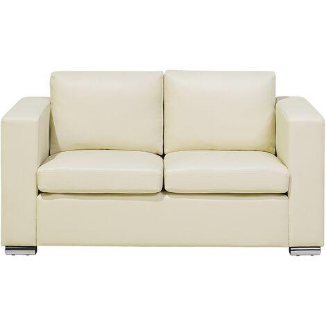 2 Seater Leather Sofa Cream HELSINKI