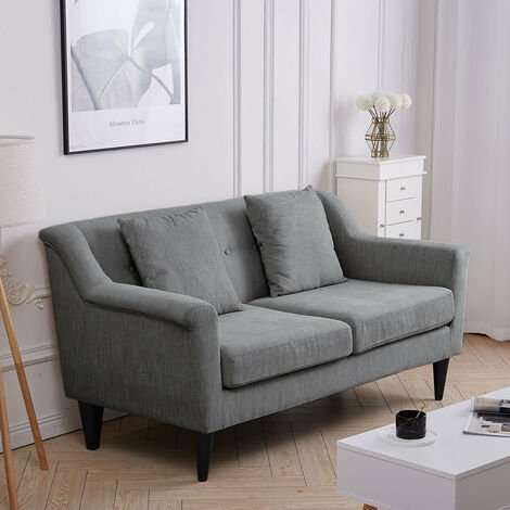 2 Seater Linen Fabric Buttoned Back Sofa with Pillow