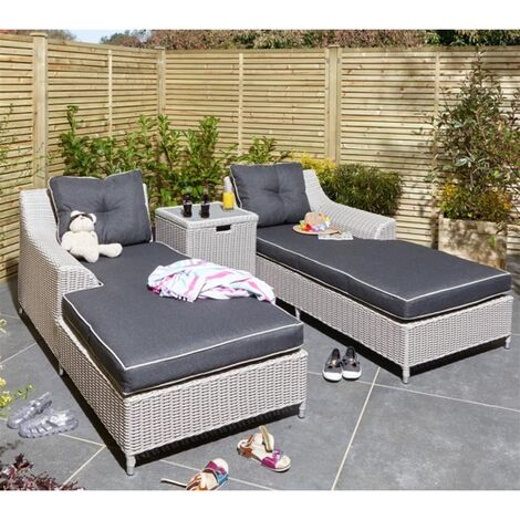 """main image of """"2 Seater Putty Grey Rattan Weave Garden Lounger Set"""""""