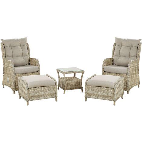 2 Seater Rattan Garden Lounge Set Beige PONZA