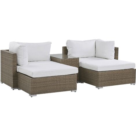 2 Seater Rattan Garden Lounge Set Brown NOTO
