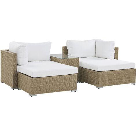 2 Seater Rattan Garden Lounge Set Brown NOTO