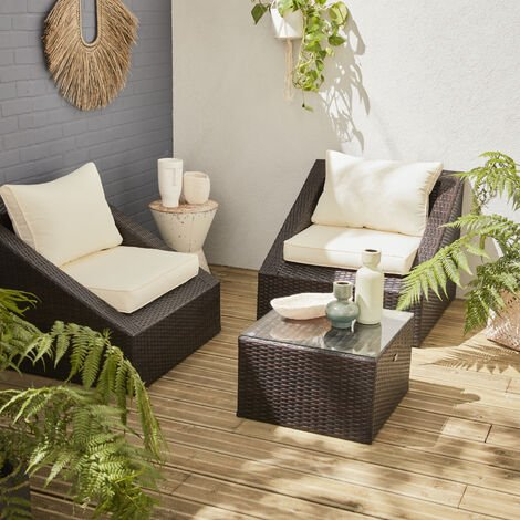 2-seater rattan garden sofa set - Triangolo