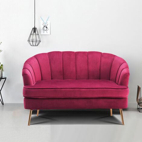2 Seater Sofa Settee Fabric With Metal Legs Wine Red