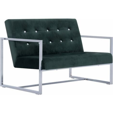 2-Seater Sofa with Armrests Dark Green Chrome and Velvet