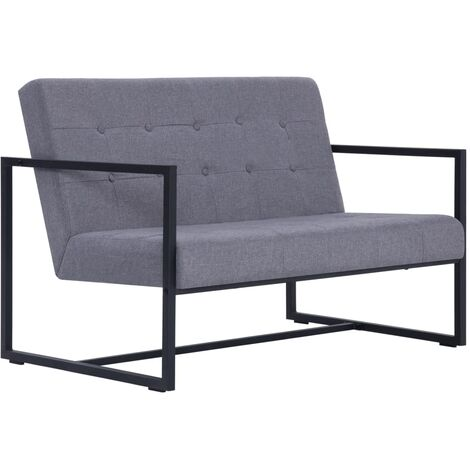 2-Seater Sofa with Armrests Light Grey Steel and Fabric