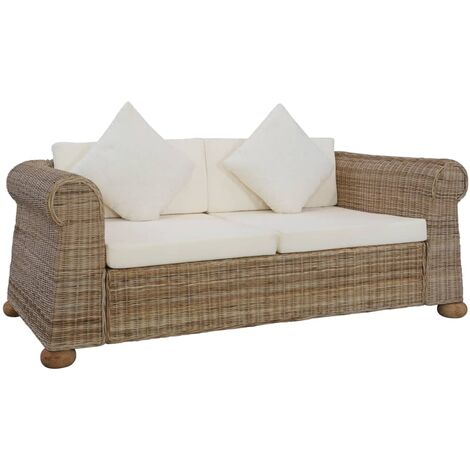 2-Seater Sofa with Cushions Natural Rattan - Brown