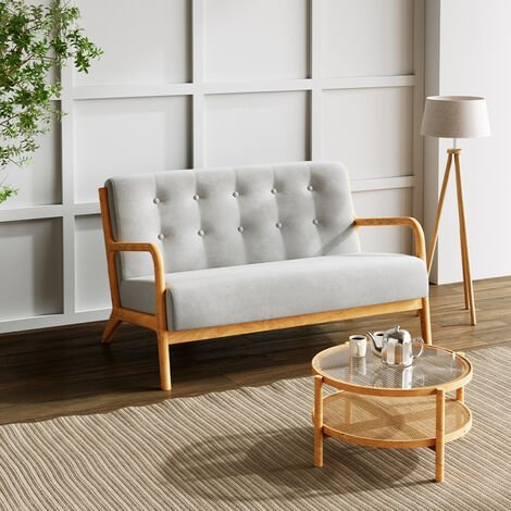 """main image of """"2 Seater Solid Wooden Frame Sofa Couch Upholstered Seat Buttoned Settee Grey"""""""