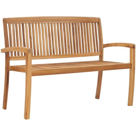 2-Seater Stacking Garden Bench 128.5 cm Solid Teak Wood
